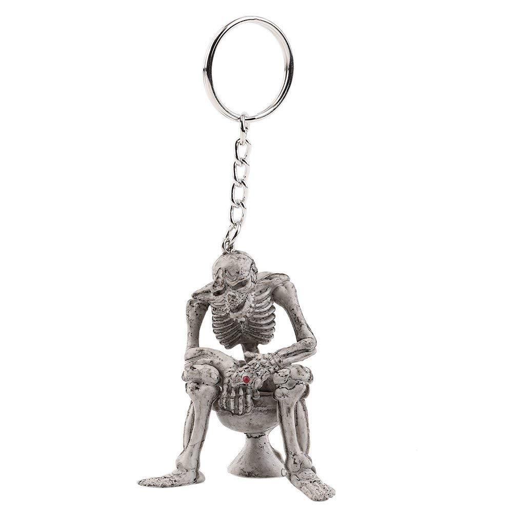 Skeleton Skull Keychain Creative Skull On Toilet Punk Keyrings for Men Novelty Key Holder for Purse or Bag