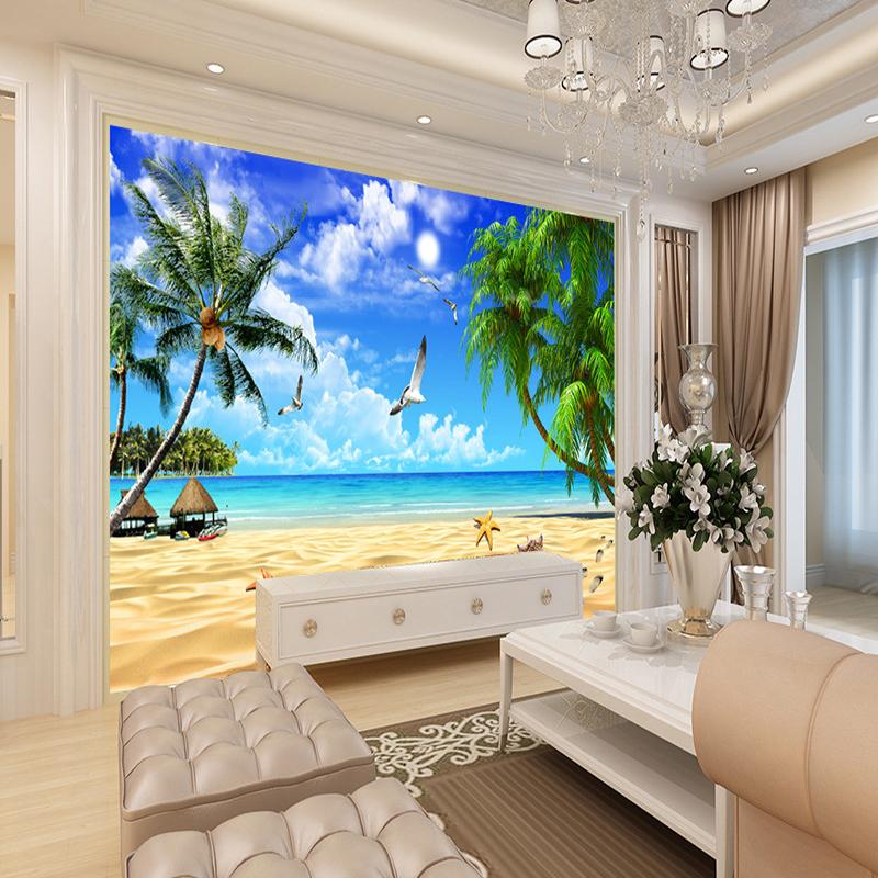 3D Wallpaper Beach Landscape Mural Wallpaper For Living