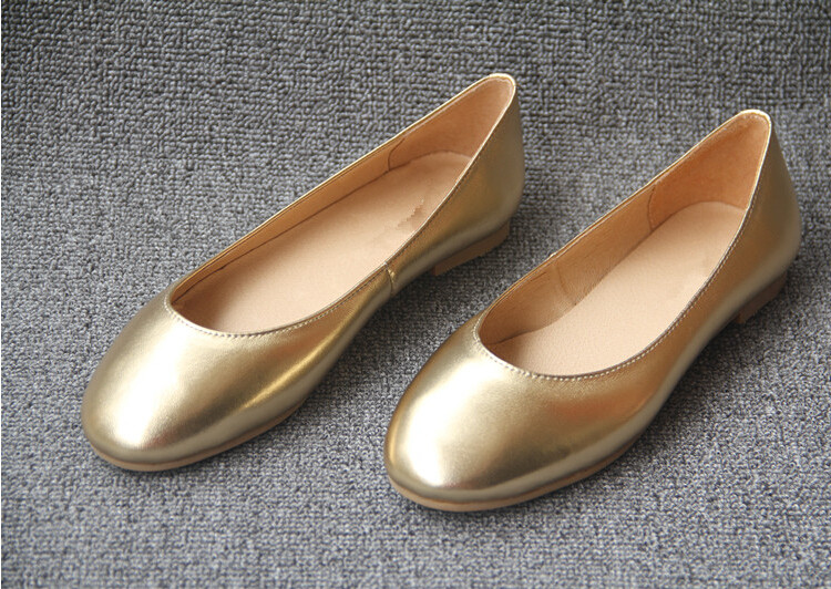 Gold Metallic Pu Women's Ballerina Shoes New Model Ladies Cheap ...
