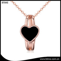Love heart shaped pendant necklace rhodium plating gold necklace