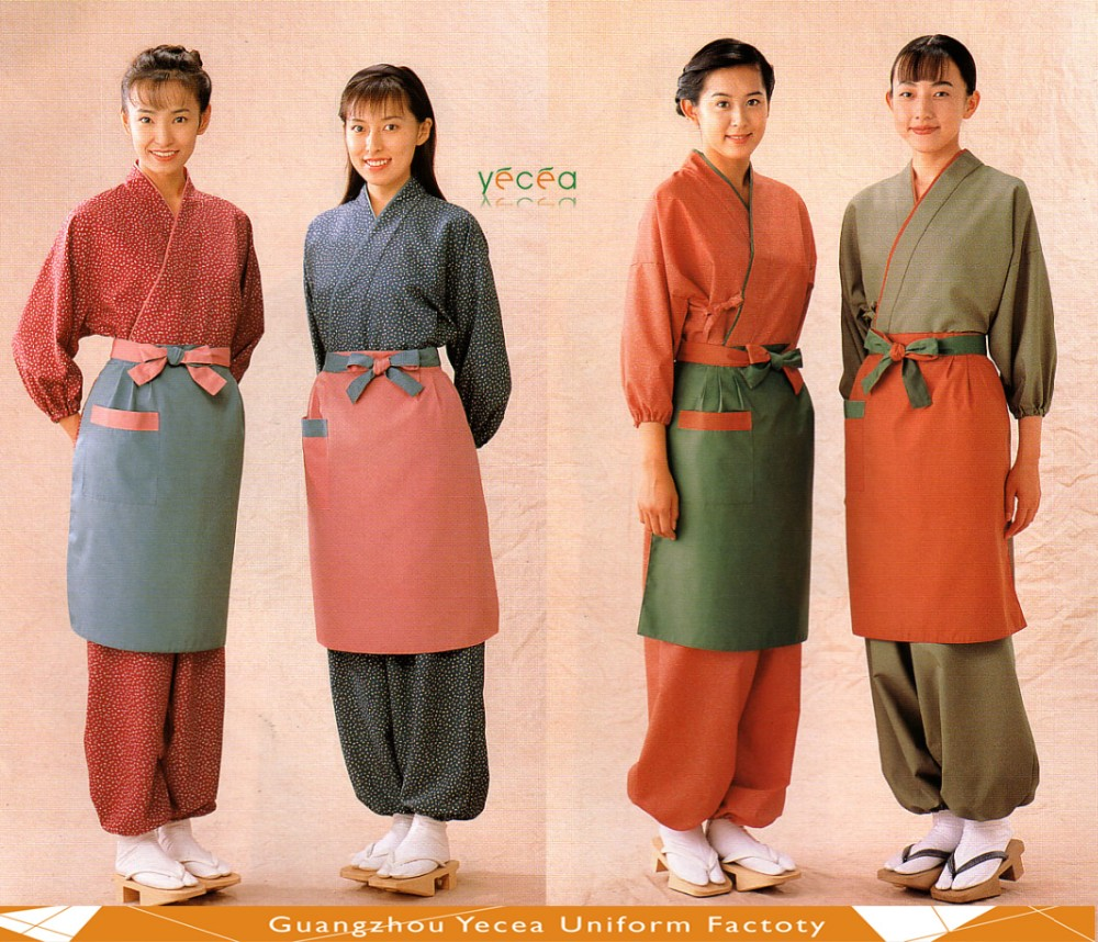 100% Cotton linen/Silk flower pattern Sushi chef restaurant oden Kento hotchpotch Japanese kimono style uniform customize logo