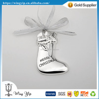 Manufacturer good quality Christmas Sock printed Silver Plated Christmas Adornment for decoration