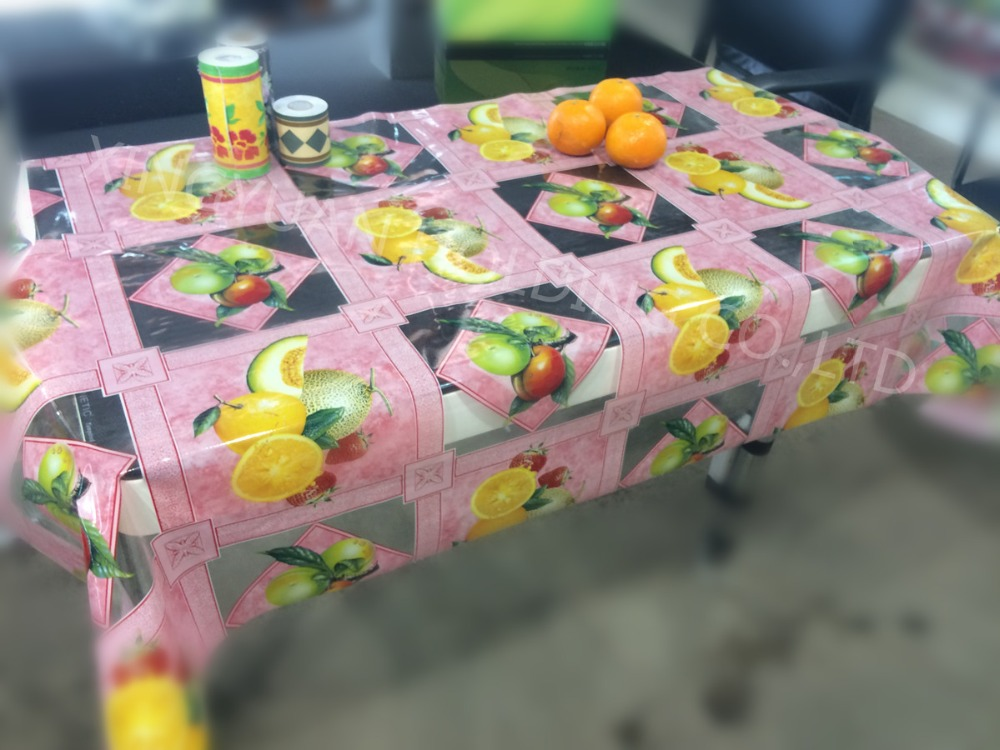 Goedkope plastic dinning clear fruit gedrukt tafel cover pvc transparant tafelkleed tafelkleed - Transparante plastic tafel ...