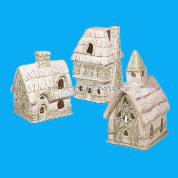 LED Christmas Village, Batteries Included to Light Up - Set of 3 - Church, House, and Inn