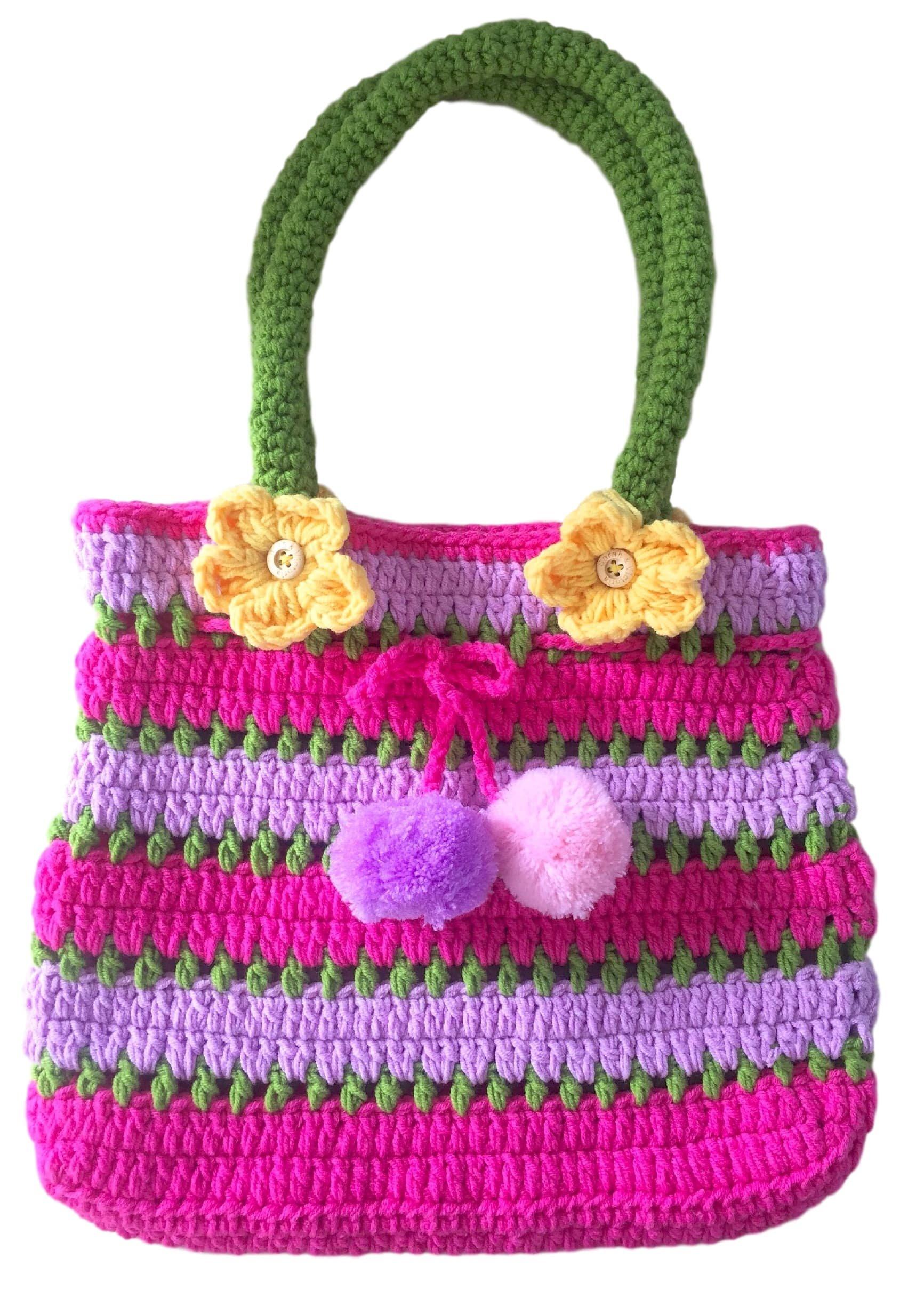 Pom Pom Handbag, Little Girls Purse, Pink & Purple, Soft Handmade Crochet, Drawstring Closure, Flowers Front & Back, Gifts For Girls, Dress-Up & Play, So Beautiful & Unique ... Just Like Her