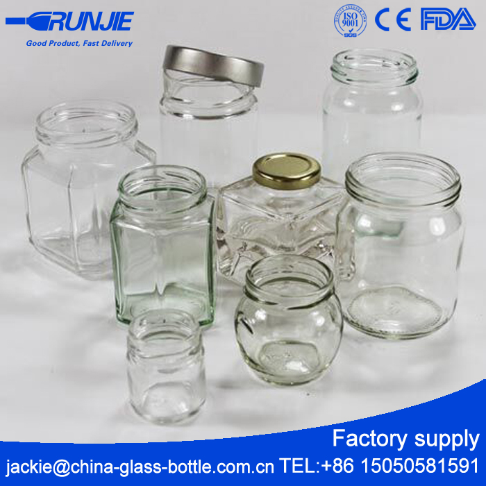 FDA Certificated Glass Jar For Food, CE Approved Glass Honey Jar Manufacturing, Factory Supply Glass Jar With Metal Lid