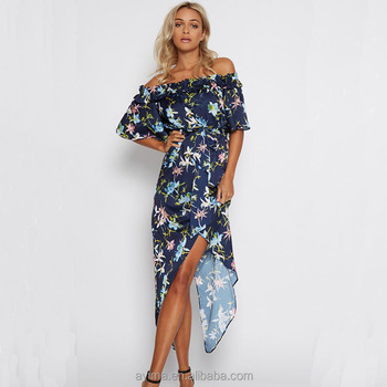 779f6a20e0f1e Wholesale Off Shoulder Short Sleeve High Low Floral Maxi Dress In Navy -  Buy Stylish Maxi Dress,Bulk Wholesale Maxi Dresses,Long Maxi Dress Product  on ...