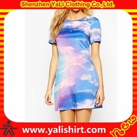 Brand quality customized european style polyester dip dye slim fit summer fashion dresses trendy