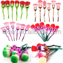 AIDEN-China good price factory high quality 6pcs nylon hair plastic handle rose flower makeup brushes