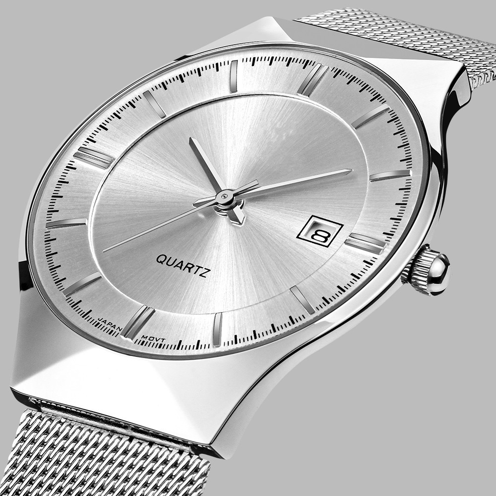 Hight Quality Men's Watches New Top Watch Men Ultra Thin Stainless Steel Mesh Band Quartz Wristwatch Fashion casual watch