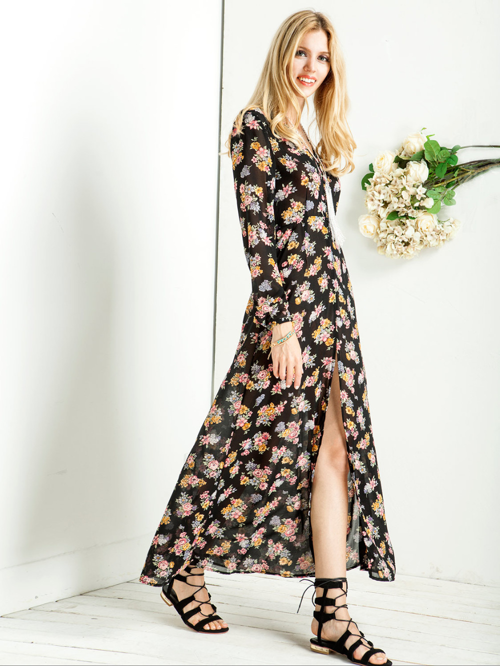 53a77bfa073f Get Quotations · Black Floral Print Single-breasted V-neck Long Sleeve  Chiffon Maxi Dress In Stock