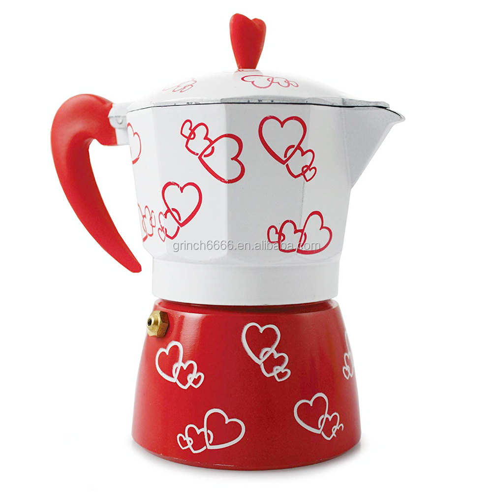 Red Hearts Design 6 cups Cafetiere Stovetop Moka Pot Aluminum Coffee Maker