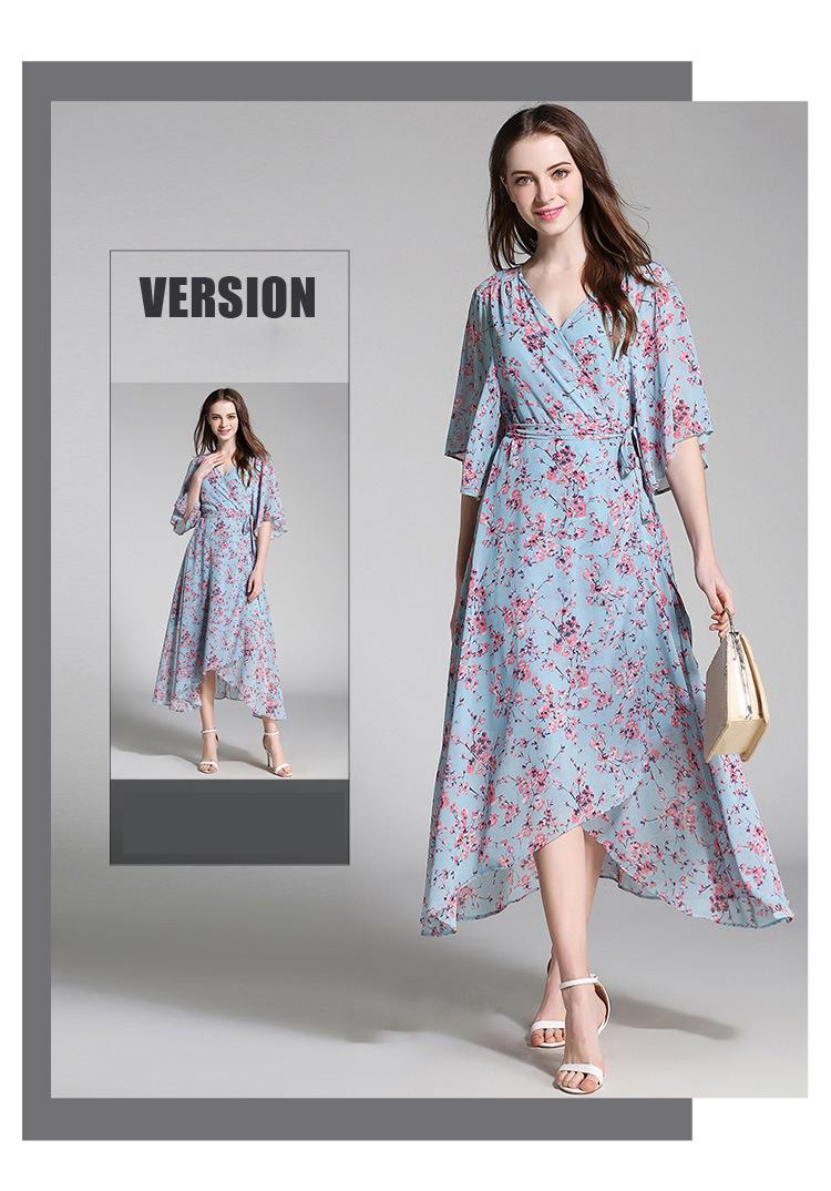 238730cd859cb YuooMuoo New European Fashion V-neck Long Bohemian Dress Romantic Floral  Print Light Blue Summer Dress Women Chiffon Maxi Dress