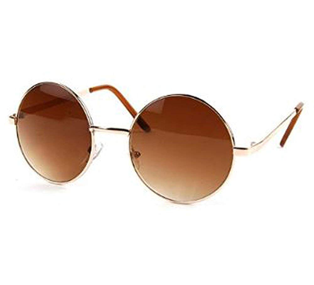 John Lennon Sunglasses Hippie Retro Round Frame Sunglasses (Gold-Brown Lens)