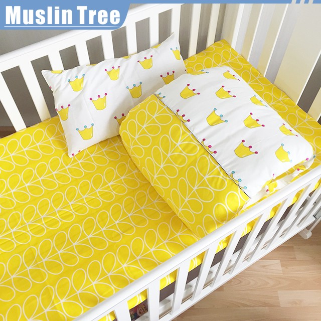 Muslin tree customized printed breathable 100% cotton baby bed bumper