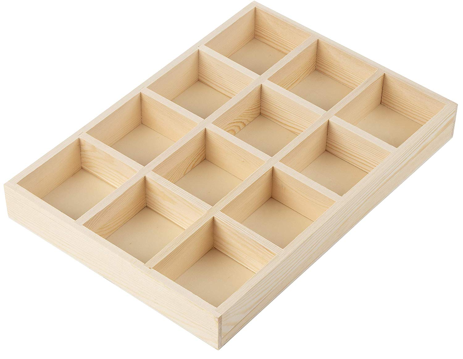 Wooden Drawer Organizer - Desk Organizer, Divided Storage Box, Display Tray, for Small Items, Miniature Plant, Jewelry, Craft, Stationary, 12 Grids, Natural Brown, 13.2 x 9.2 x 1.58 Inches