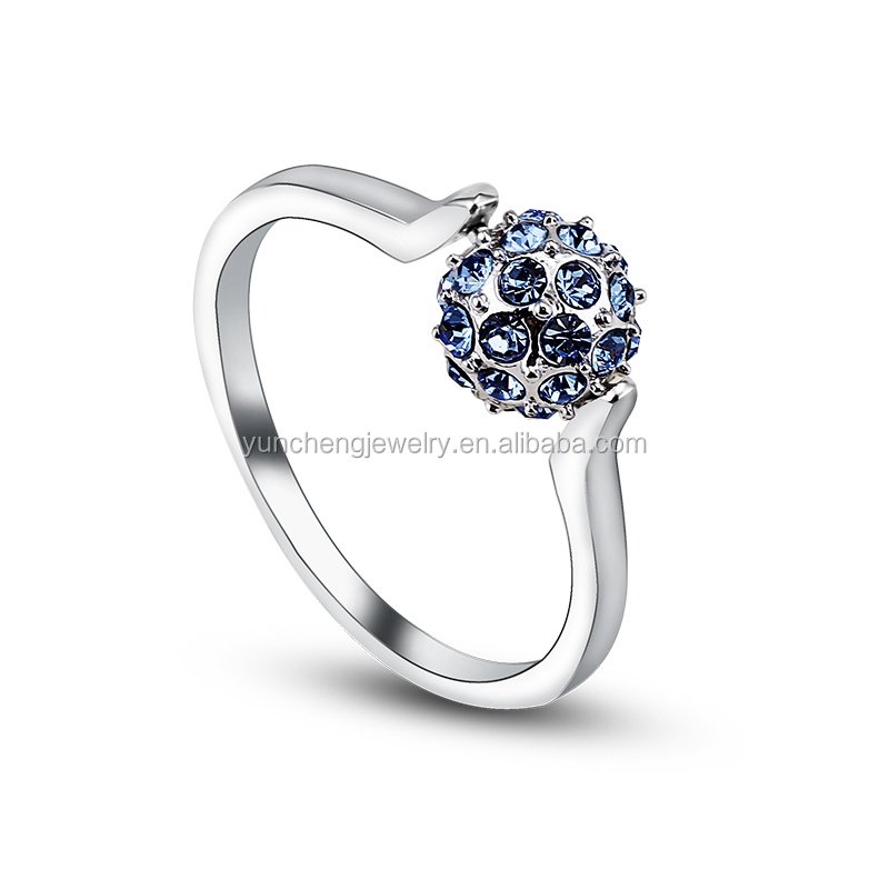 YCR6832 925 Sterling Silver dark Blue crystal Ring