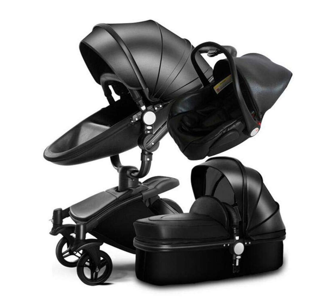 Baby Stroller, High Landscape Four-Wheel Shock Baby Stroller - Can Sit and Reclining Folding Baby Stroller - 360 ° Rotating Seat Pram,Black