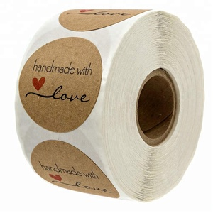 "1.5"" Inch Round Natural Kraft Handmade with Love Stickers/500 labels per roll"
