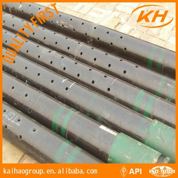 Slotted liner well casing pipe perforated