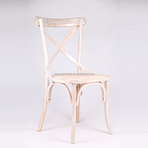Antique White Solid Wood Event X Cross Back Chairs
