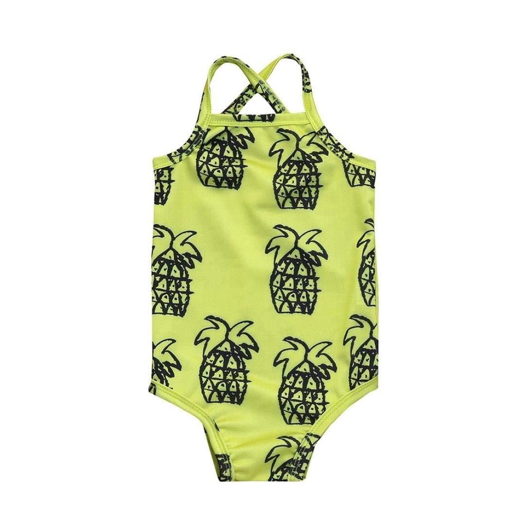 e7b0418f18217 Get Quotations · Winsummer Baby Girl Swimsuit Pineapple Printed Bikini  Ruffles Sleeve Backless Swimwear for Toddler Girl Rash Guard