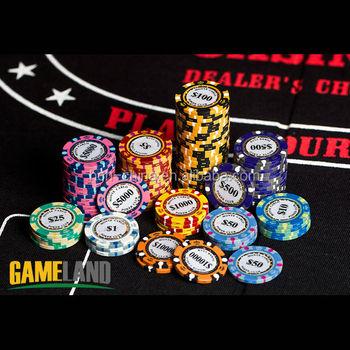 wholesale 14 gram monte carlo clay composite poker chip with gold trim - Clay Poker Chips