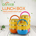 Wholesale plastic colorful 1- 4 Layer round metal food container bento lunch box set with spoon