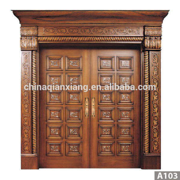 Latest design modern carved exterior solid teak wood main for Latest design for main door