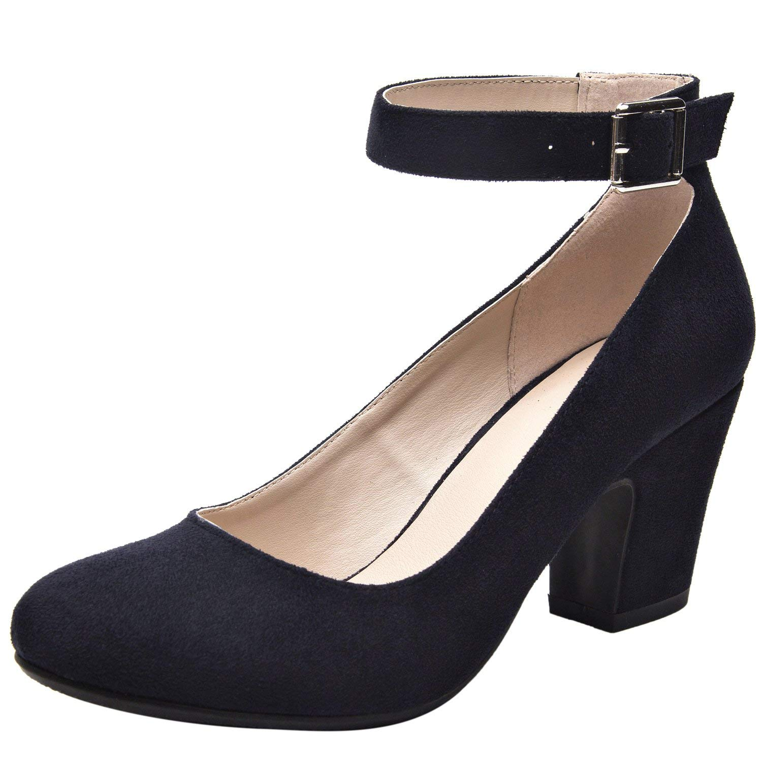 Luoika Women's Classic Heel Pump Shoes - Stacked Mid Heel Round Toe Adjustable Ankle Strap