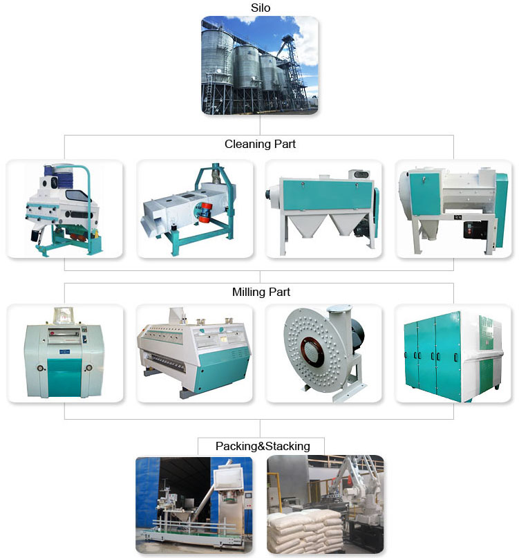 120TPD project cost Indian corn flour milling machinery for making turnkey flour mill plant