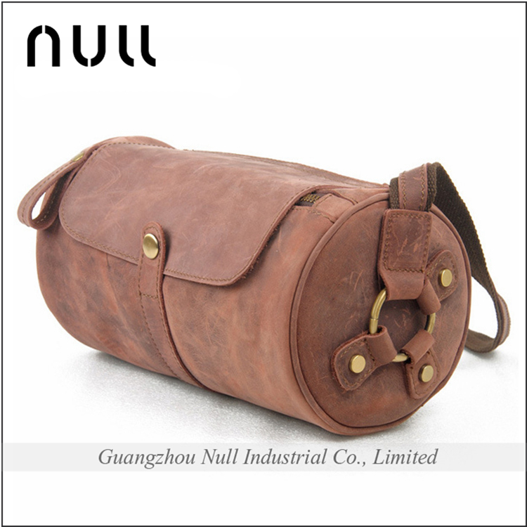 Fashion felt integer crazy horse cylindrical style genuine leather long strip mens shoulder bag