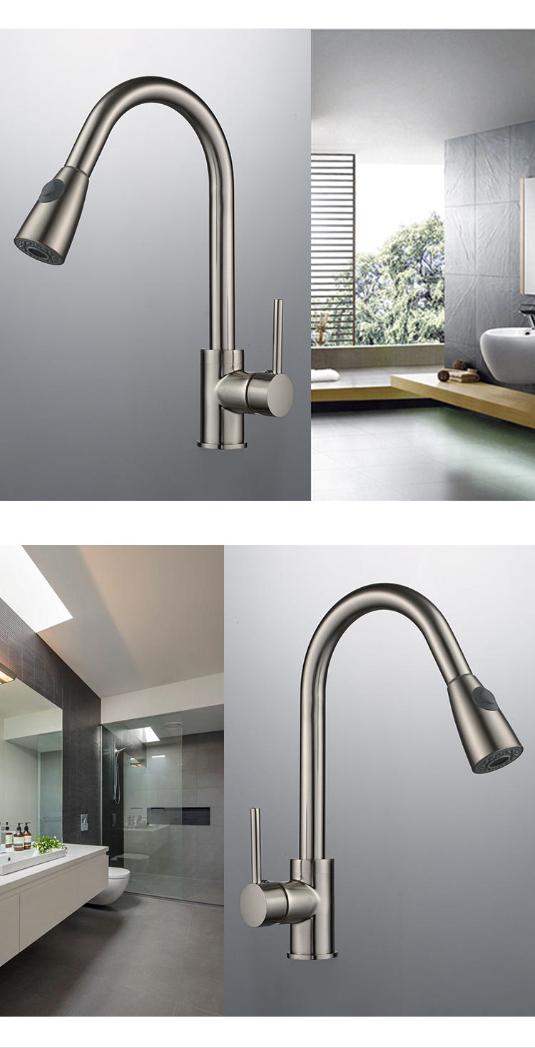 Cheap commercial single handle pull down brass kitchen faucets for home
