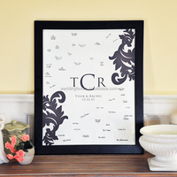 Custom Monogram Wedding Guest Book Frame