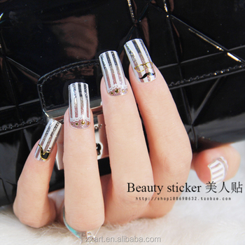 Verschillende Ontwerpen Zwarte En Witte Glitter 3d Nail Art Sticker