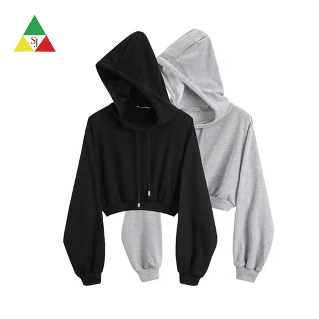 Wholesale high quality custom design women crop hoodie