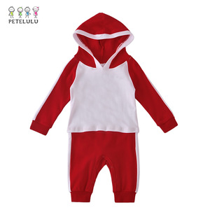 Fashion casual sport theme baby hooded romper