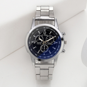 Factory direct sell Japan movt quartz stainless steel silver watch blue light glass surface wrist steel watch for mens