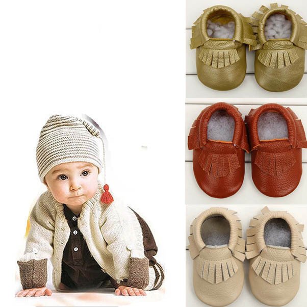6c2381646c645 Buy Baby Tassel Soft Sole Cow Leather Shoes Infant Boy Girl Toddler ...