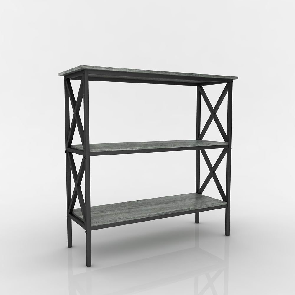 Weathered Grey Oak Finish 3 Tier Metal X Design Bookcase Bookshelf Console  Sofa Table