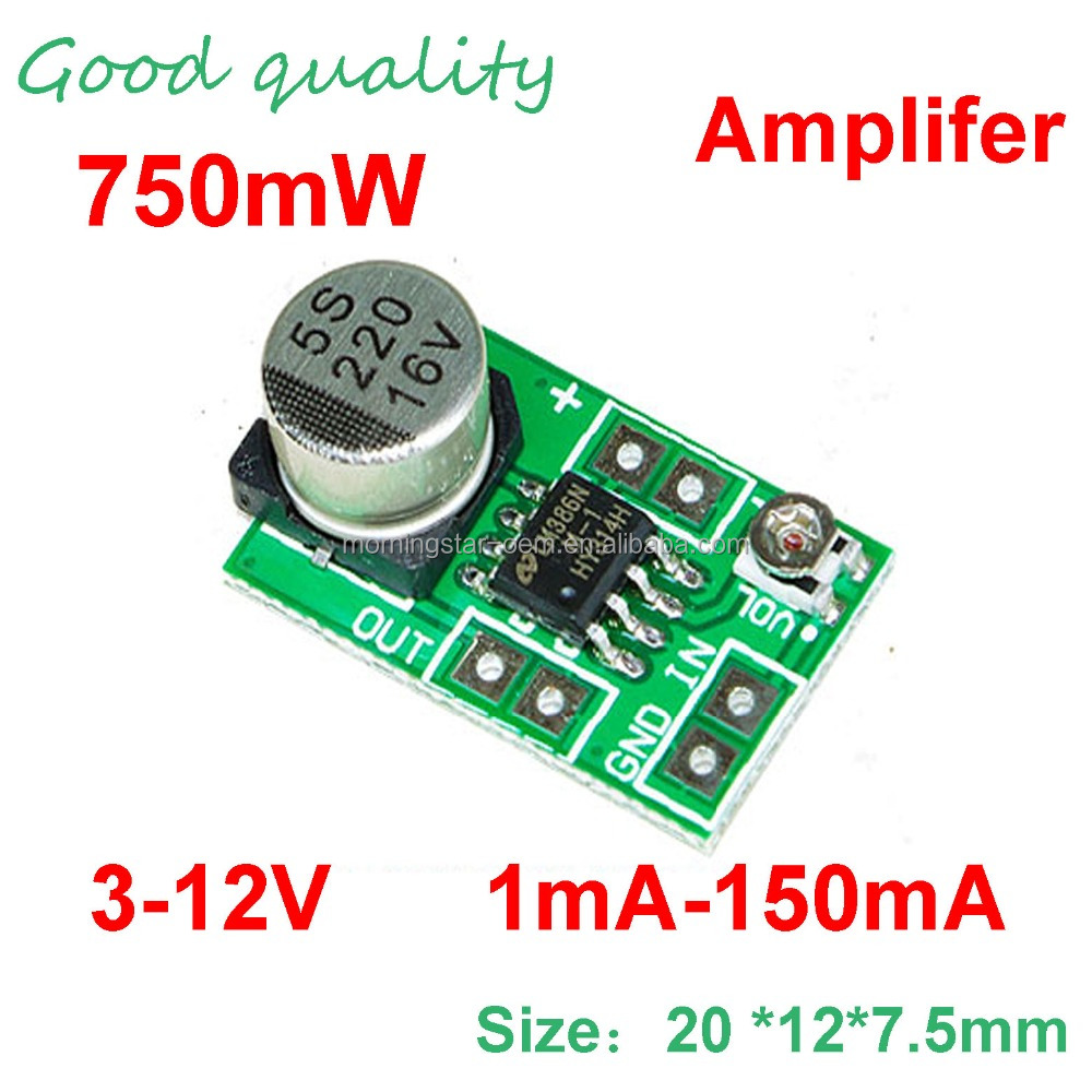 750mw Mini Amplifier Board Lm386 Satellite Finder Sound Module Audio Circuit With Pcb Adjustable Volume Low Power 515v For Microphone Preamplifier Buy