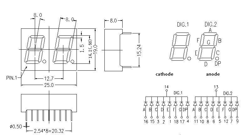 0 56 u0026quot  white led 2 digit 7 segment display dual digit