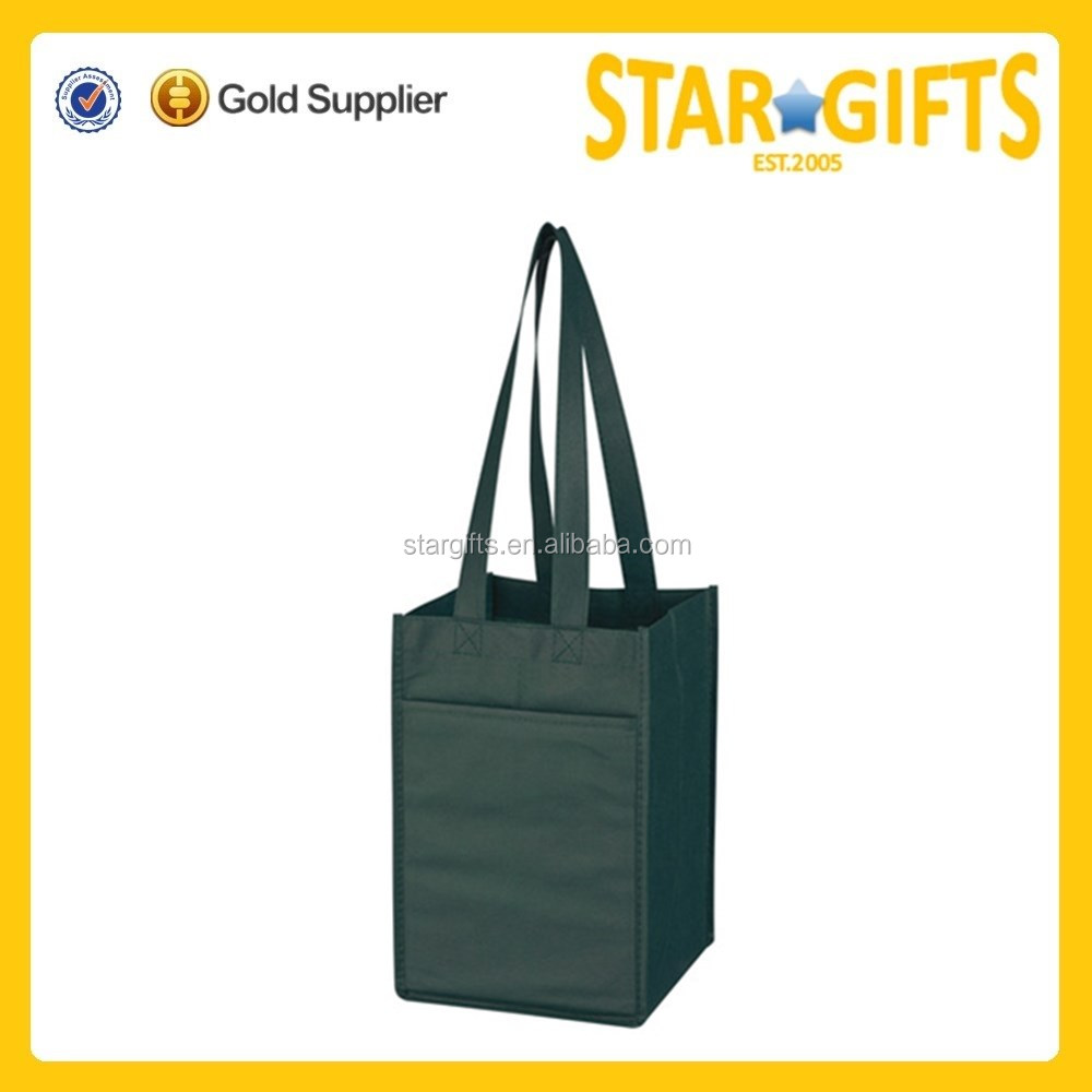 Reusable Non Woven Tote Wine Bottle Bag With Custom Logo