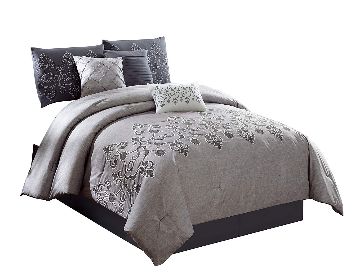 Chezmoi Collection Catalina 7-Piece 2-Tone Gray Embroidered Floral Scroll Pattern Bedding Comforter Set (California King), Grey