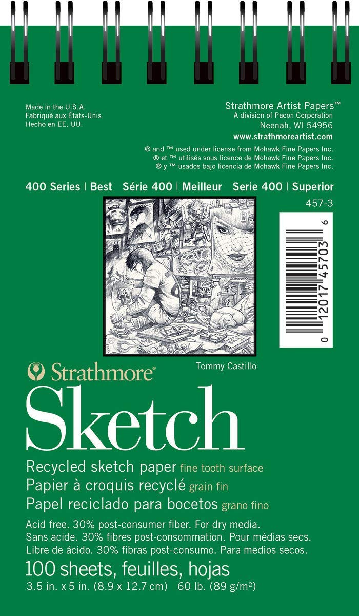 """Strathmore 400 Series Recycled Sketch Pad, 3.5""""x5"""" Wire Bound, 100 Sheets"""