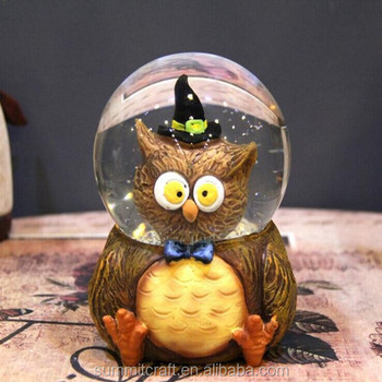3d resin witch owl figurine water globes halloween snow globe