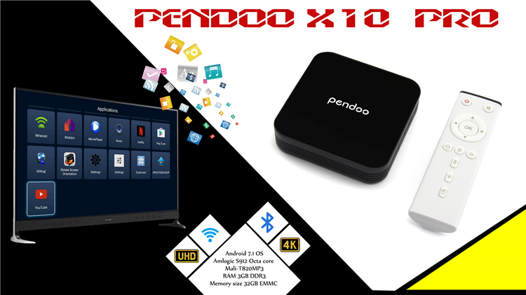 2017 most popular Pendoo X10 Pro S912 3G 32G tv box download app google play store of Bottom price Android 7.1 OS Set Top Box