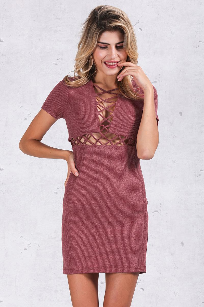 Simplee Autumn winter knitted lace up dress women Sexy red bodycon dress vestidos Elegant party short sleeve girls dress 2016 6