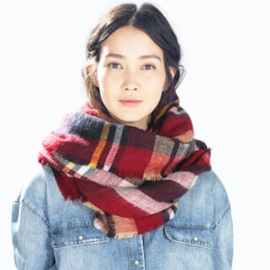 Fashion Acrylic Plaid Blanket Women Winter Large Tassel Blanket Square Tartan Scarf