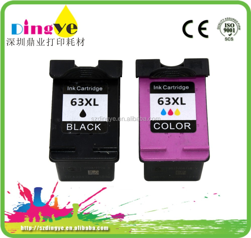 remanufacture ink cartridge for HP 63 XL with auto reset chip